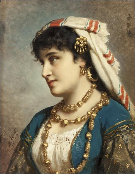 portrait of a young woman-ANTON EBERT(German, 1845-1896)