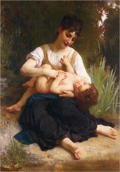 The-Joys-of-Motherhood-Girl-Tickling-a-Child-1878-bouguereau