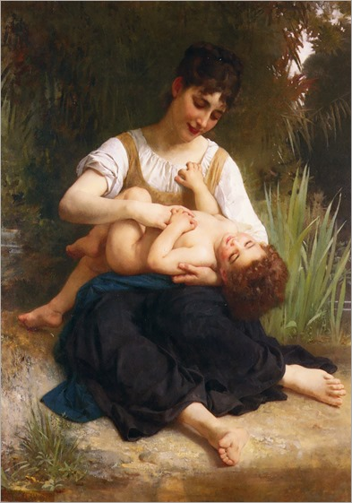 The-Joys-of-Motherhood-Girl-Tickling-a-Child-1878-bouguereau