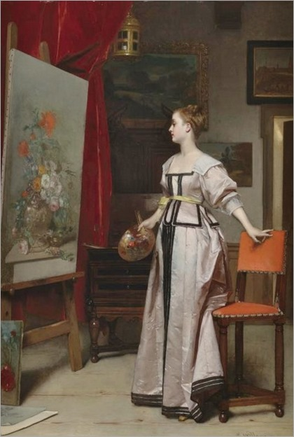the young artist in her studio-Florent Willems (belgian, 1823-1905)