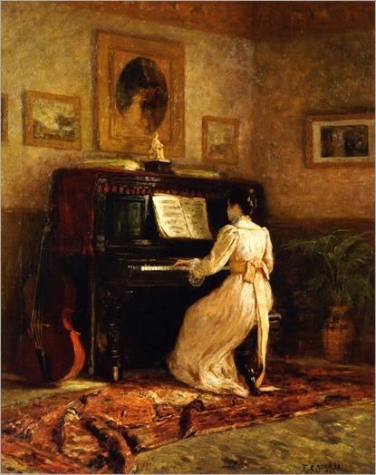 Theodore Clement Steele - Girl at the piano - The Piano (1893)