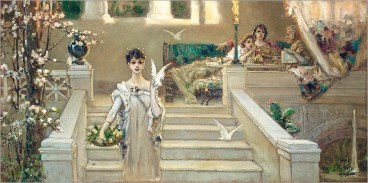 Vasily Alexandrovich Kotarbinsky (Russian,1849-1921)-ROMAN BEAUTY WITH DOVES