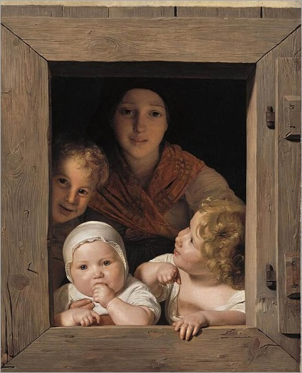 Young Peasant Woman with Three Children at the Window_Ferdinand Georg Waldmuller_1840