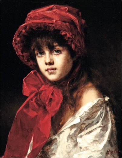 Alexei Harlamoff (Russian, 1842-1915) Young Girl in a Red Bonnet