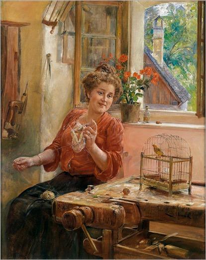 Ernst Nowak (1851-1919) Strickende Dame am Fenster mit Kanarienvogel