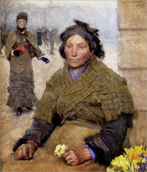 George Clausen - Flora, the Gypsy Flower Seller 1883