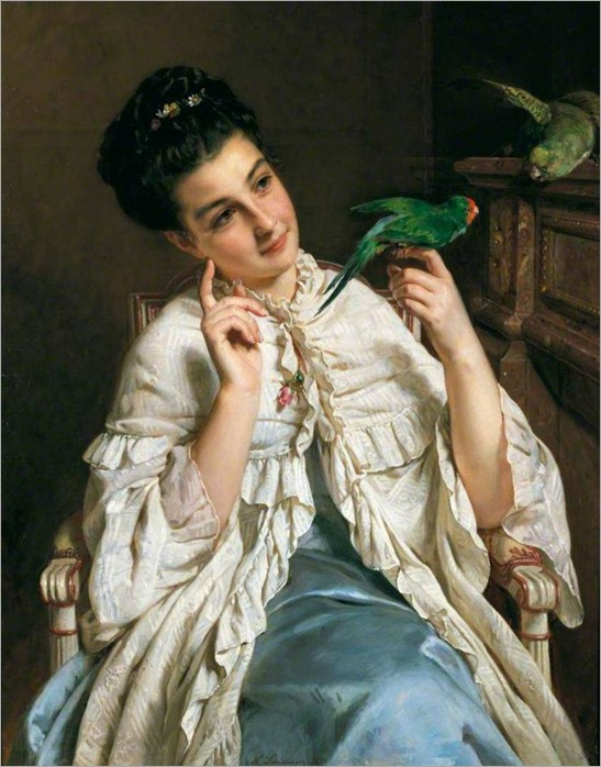 Henry Guillaume Schlesinger (French 1814-1893) Girl with Lovebirds