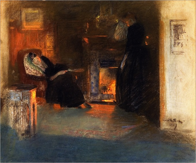 James Guthrie (scottish 1859-1930) - Firelight Reflections 1889