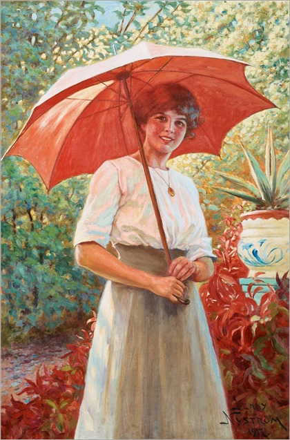 Jenny Nystrom (1854-1946) The Red Parasol