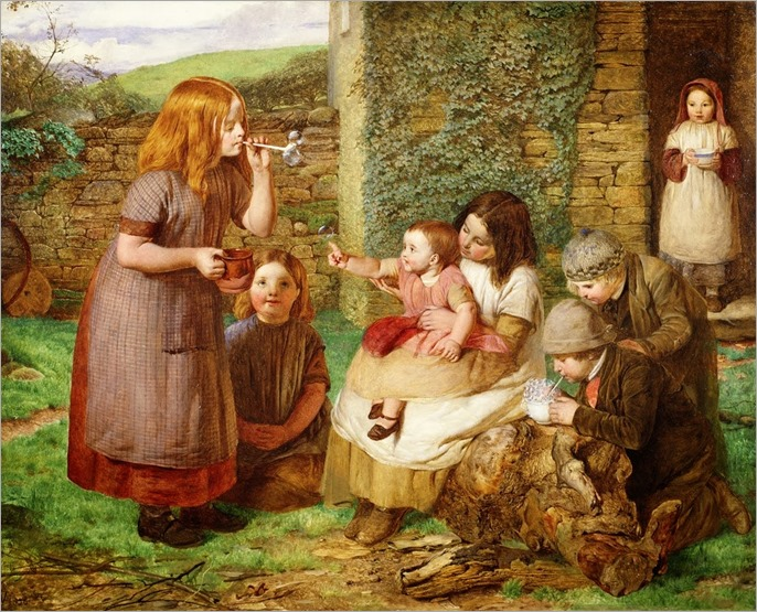 John Dawson Watson (1832-1892) - Bubbles - Cottage Scene with Children at Play 1856