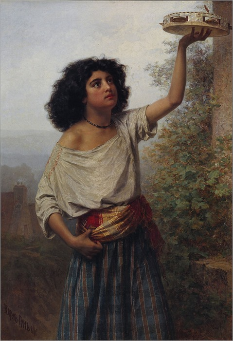 Kārlis Teodors Hūns (1830 - 1877, Latvian) Young_Gipsy_Woman_-_Google_Art_Project