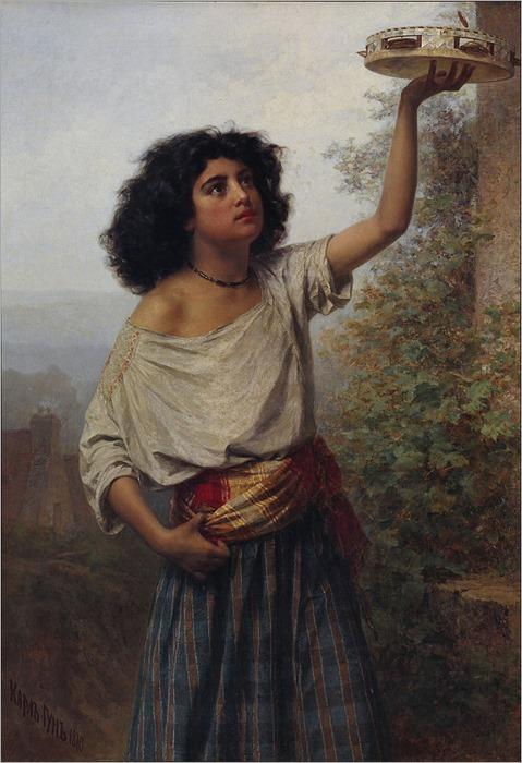 Kārlis Teodors Hūns (1830 - 1877, Latvian) Young_Gipsy_Woman_-_Google_Art_Project