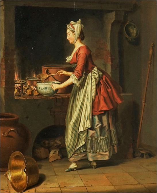 Pehr Hilleström (Swedish artist, 1732-1816) A Maid Taking Soup from a Cauldron