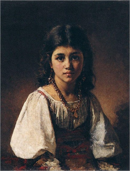 Portrait of a Gypsy Girl-Harlamoff