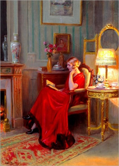 Reading by Lamplight by Delphin Enjolras (1857-1945)
