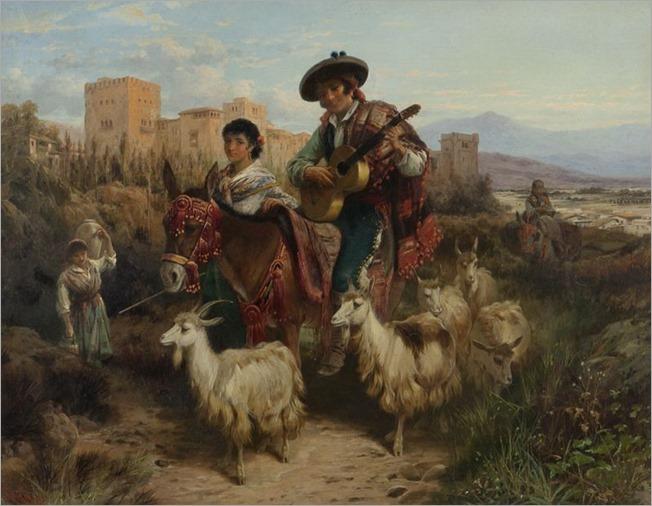 Robert Kemm (british, 1837-1895)Castillian Courtship Scene