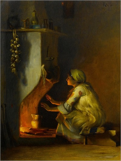 young girl by a fire-Theodoros Ralli
