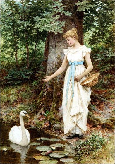 Feeding the Swan - Henry James Johnstone - 1835-1907, british