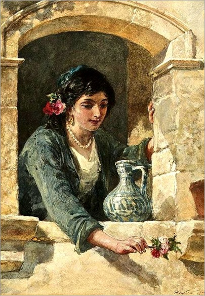 FRANCIS WILLIAM TOPHAM RA OWS (1808-1877) A Rose for the Suitor Watercolour