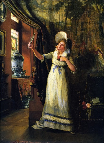 Jennie Augusta Brownscombe (1850 - 1936)  - In anticipation of the invitation, 1888