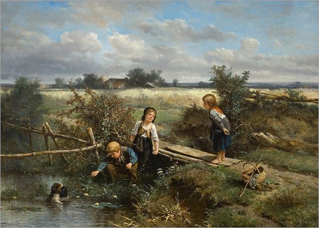 Johan 'Mari' Henri ten Kate - 1831 - 1910-drie-kinderen-en-een-hondje-met-een-mutsje-dat-in-het-water-dreef