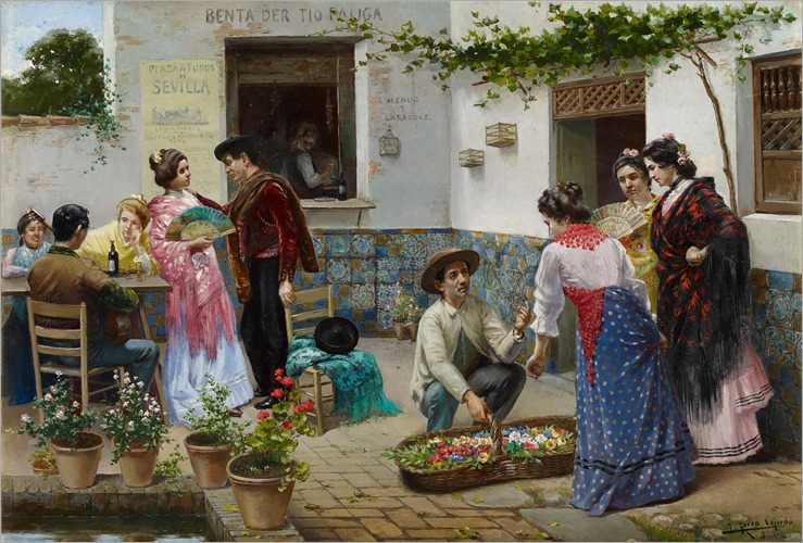 José Rico Cejudo (1864-1943, spanish)- Andalusians at the Country Inn