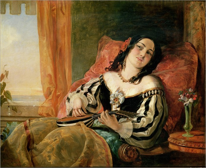 Lady Playing the Mandolin - John Phillip (english painter-19th century)