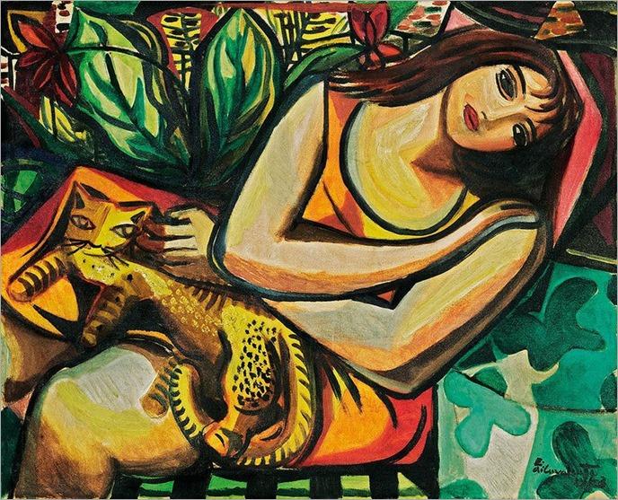 Mulher com gato - 1953-di cavalcanti