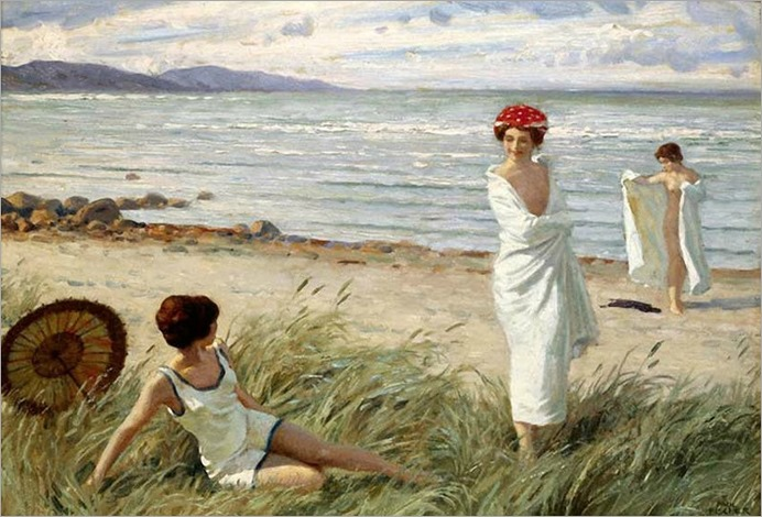 Paul-Gustave Fischer - After the Swim at Hornbaek Beach, Denmark