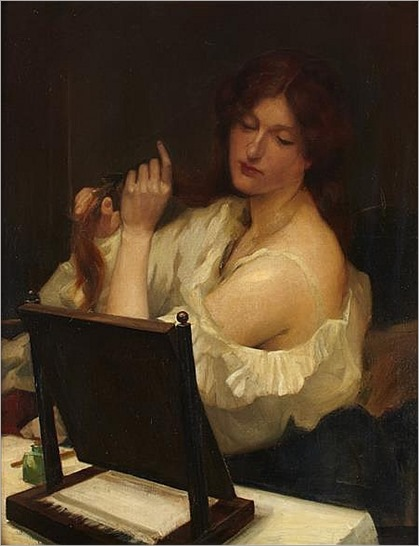 ROBERT BURNS A.R.S.A. (SCOTTISH 1869-1941) YOUNG WOMAN AT HER TOILET