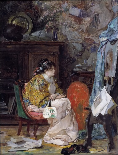 Vicente Palmaroli y Gonzalez -1880-Model in the Studio of the Painter