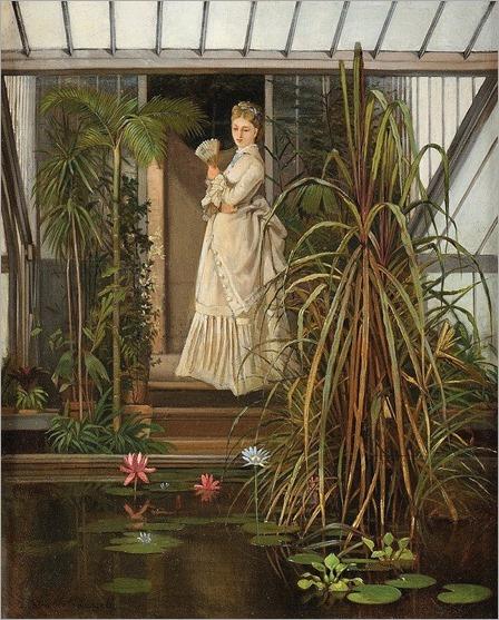 Camille Léopold CABAILLOT-LASSALLE (born1839-) Elégante dans une serre