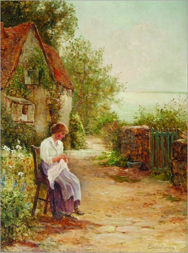 Ernest Walbourn -(english 1872-1927) Sewing in the Garden