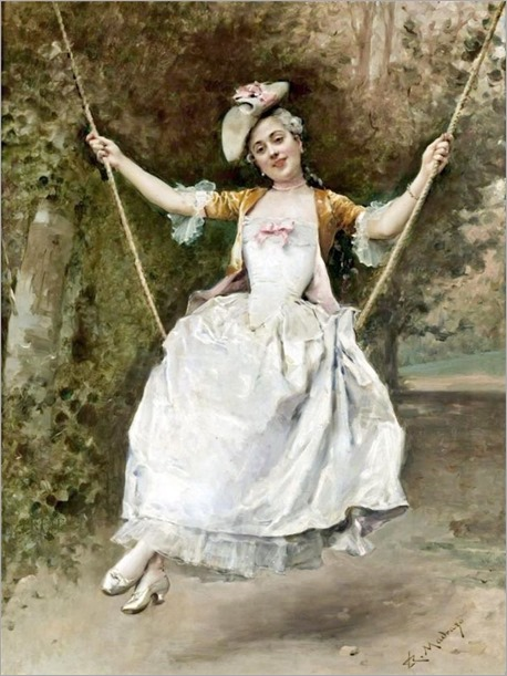 Girl on a Swing by Raimundo Madrazo y Garreta (Spanish 1841-1920)
