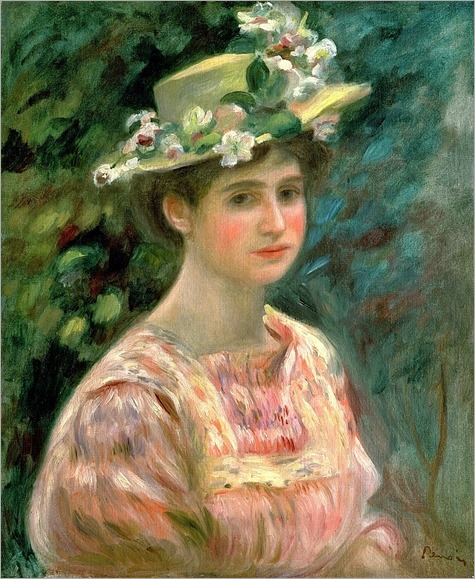 Girl with Eglantines on her Hat Pierre-Auguste Renoir