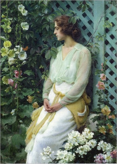 GREEN LATTICE, 1919-Charles Courtney Curran