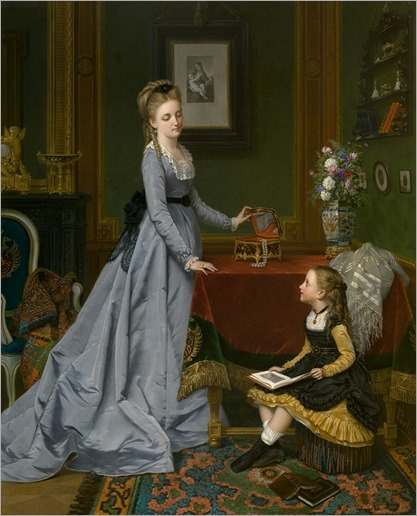 Interior scene by Jan Frederik Pieter Portielje (Amsterdam, 29 April 1829 - Antwerp, 6 Feb 1908)