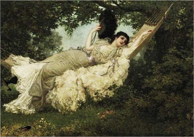 Jan van Beers (Belgian artist, 1852-1927)-the hammock
