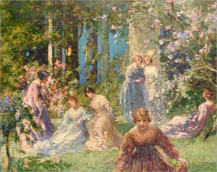 Ladies in a Garden by Thomas Edwin Mostyn