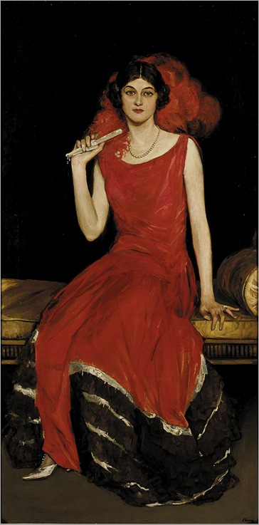 Lady in Red- Portrait of Constance Bridges (irish painter-19th century) Sir John Lavery