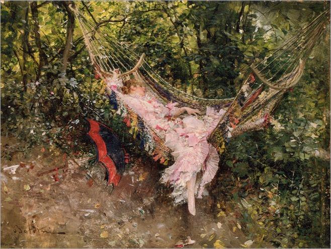 The Hammock by Giovanni Boldini (italian, 1842-1931)