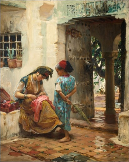 The Sewing Lesson - Frederick Arthur Bridgman (american painter)