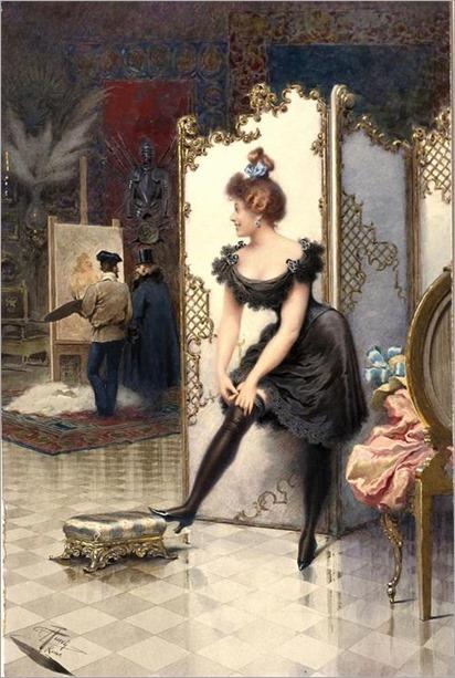 a model fastening her garter in a artist´s studio-Giuseppe Aureli