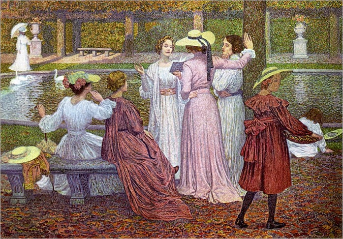 A Reading in the Garden - Theo van Rysselberghe-1902