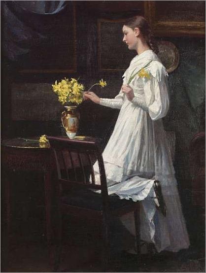 Arranging daffodils _ 1894 -Carl Christian Frederik Jakob Thomsen (1847-1912)