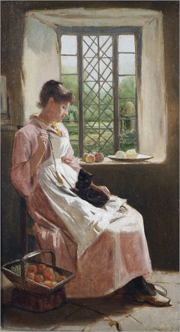 Carlton Alfred Smith (1853 - 1946) - A young woman and her cat
