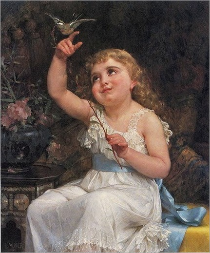 Emile Munier (French Academic Painter, 1840-1895) Her New Friend 1892