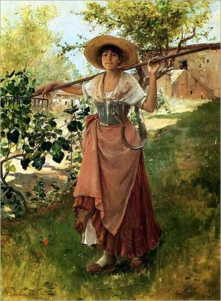 Frank Duveneck (american painter)-italian girl with rake