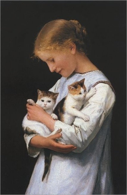 Girl holding two cats - Albert Anker