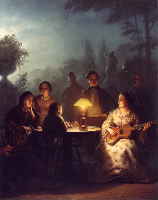 Petrus van Schendel - summer evening lamp and moonlight